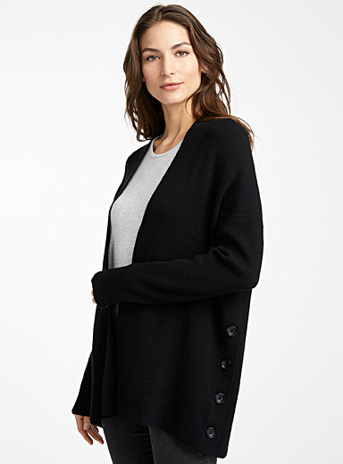 Side button ribbed cardigan