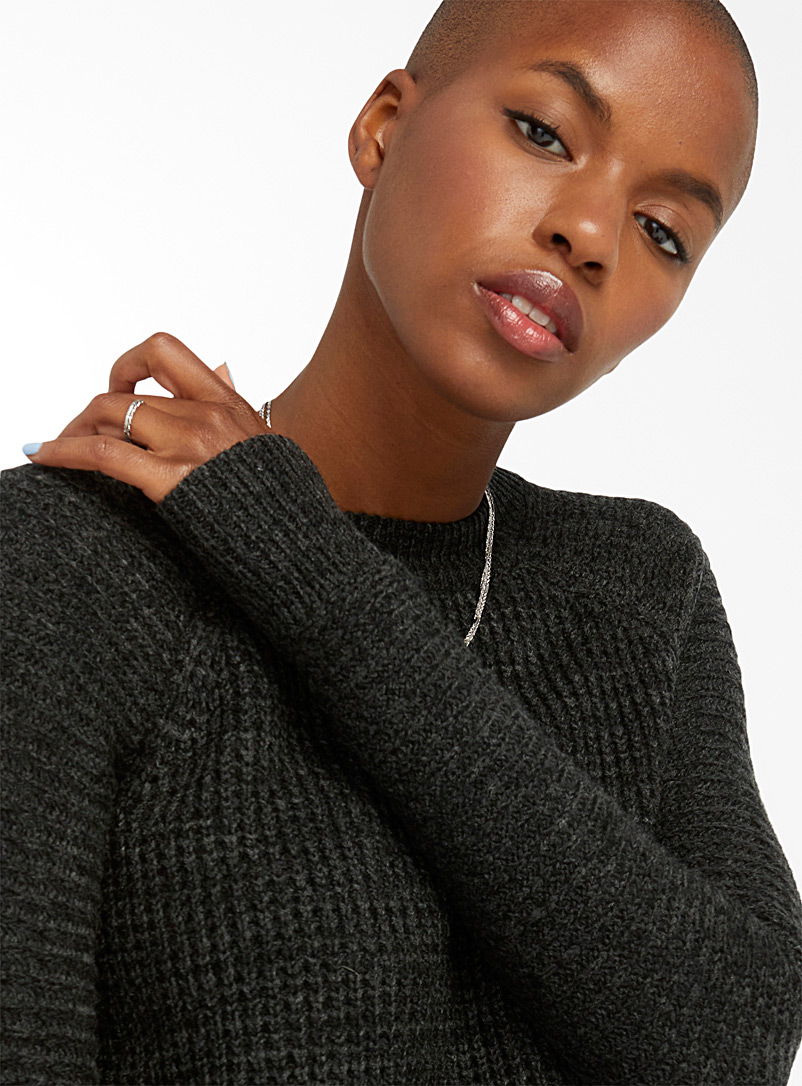 Twik Patterned Green Ribbed knit sweater for women