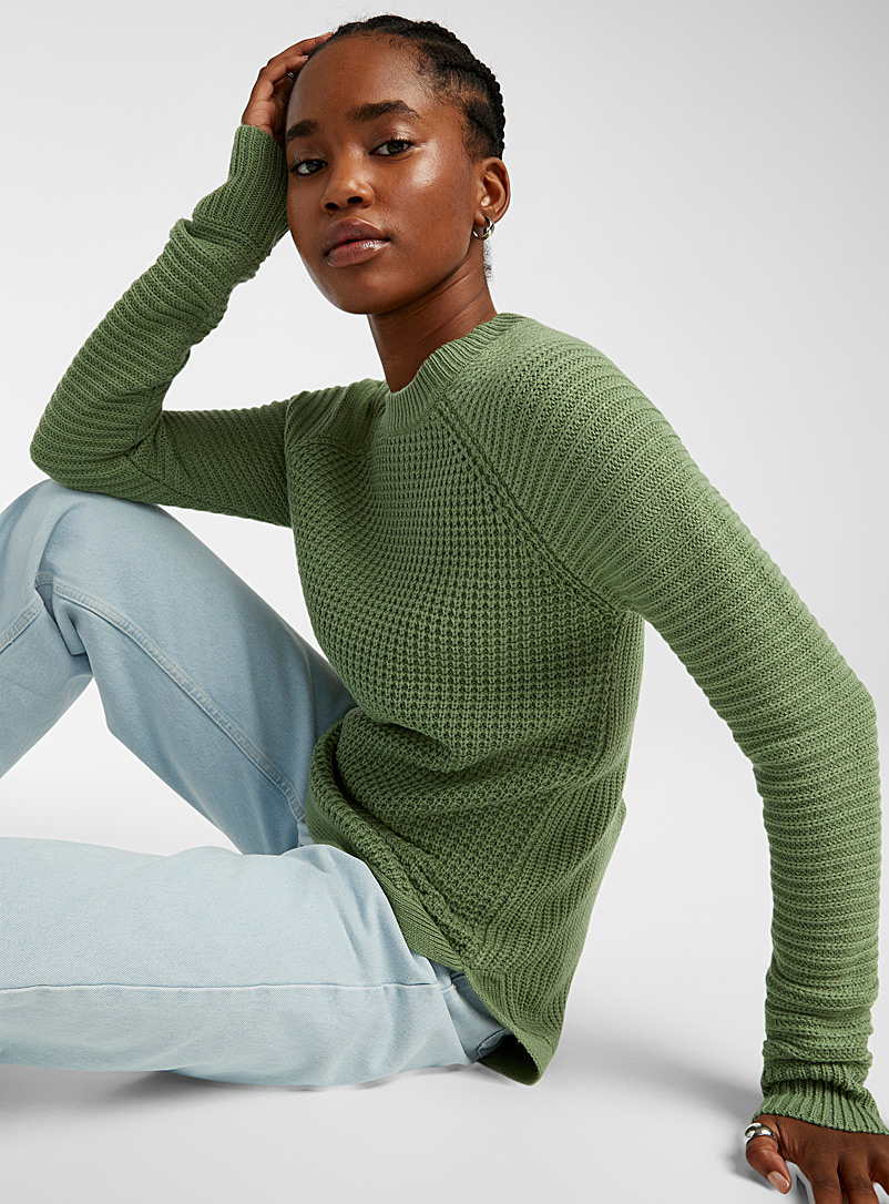 Twik Baby Blue Ribbed knit sweater for women