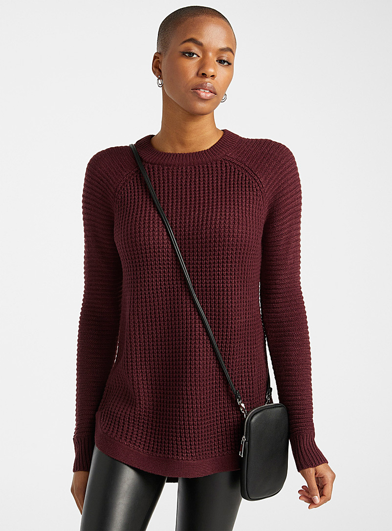 Twik Dark Crimson Ribbed knit sweater for women