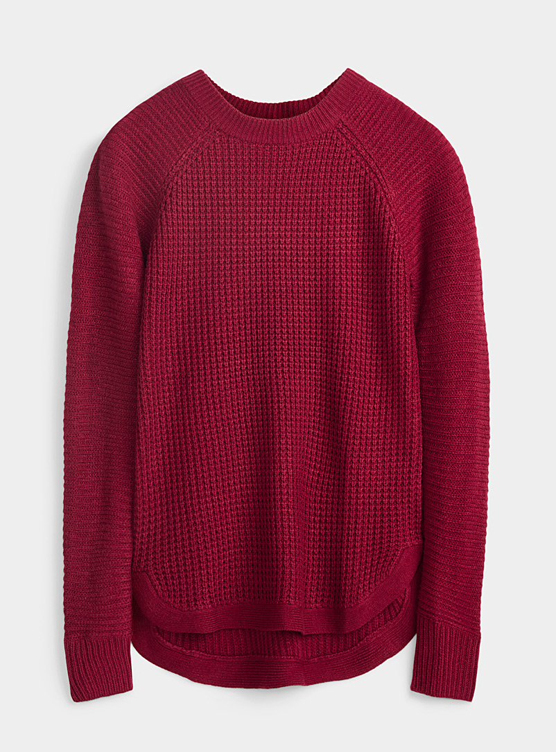 Twik Patterned Red Ribbed knit sweater for women