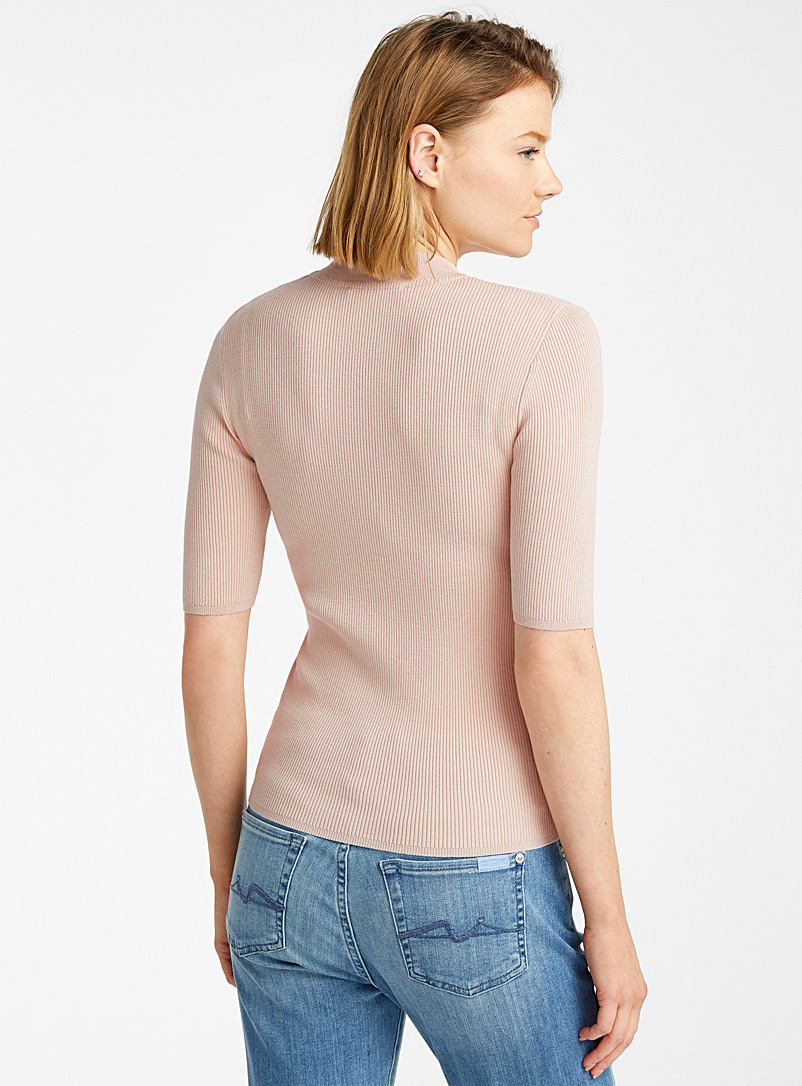 Contemporaine Pink Ribbed elbow-length sleeve sweater for women