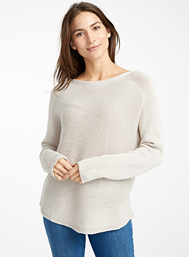 Contemporaine Sand Rounded-hem oversized sweater for women
