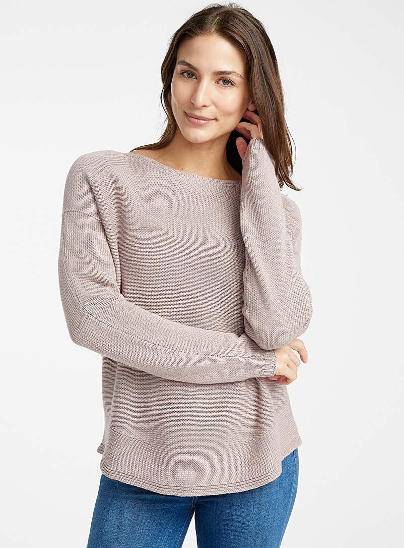 Rounded-hem oversized sweater - Sweaters - Pearly
