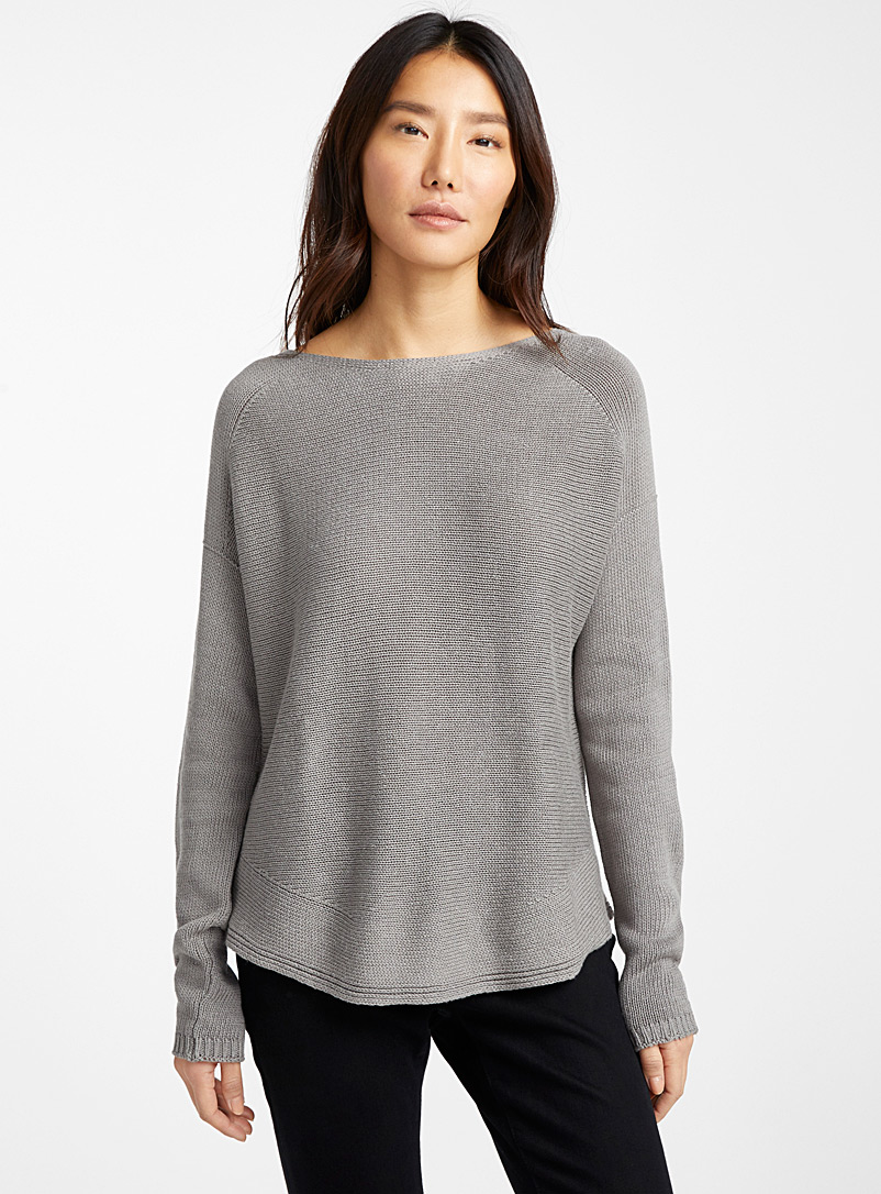 Contemporaine Grey Rounded-hem oversized sweater for women