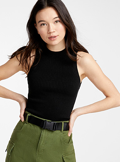 Twik Black Fitted ribbed cami for women