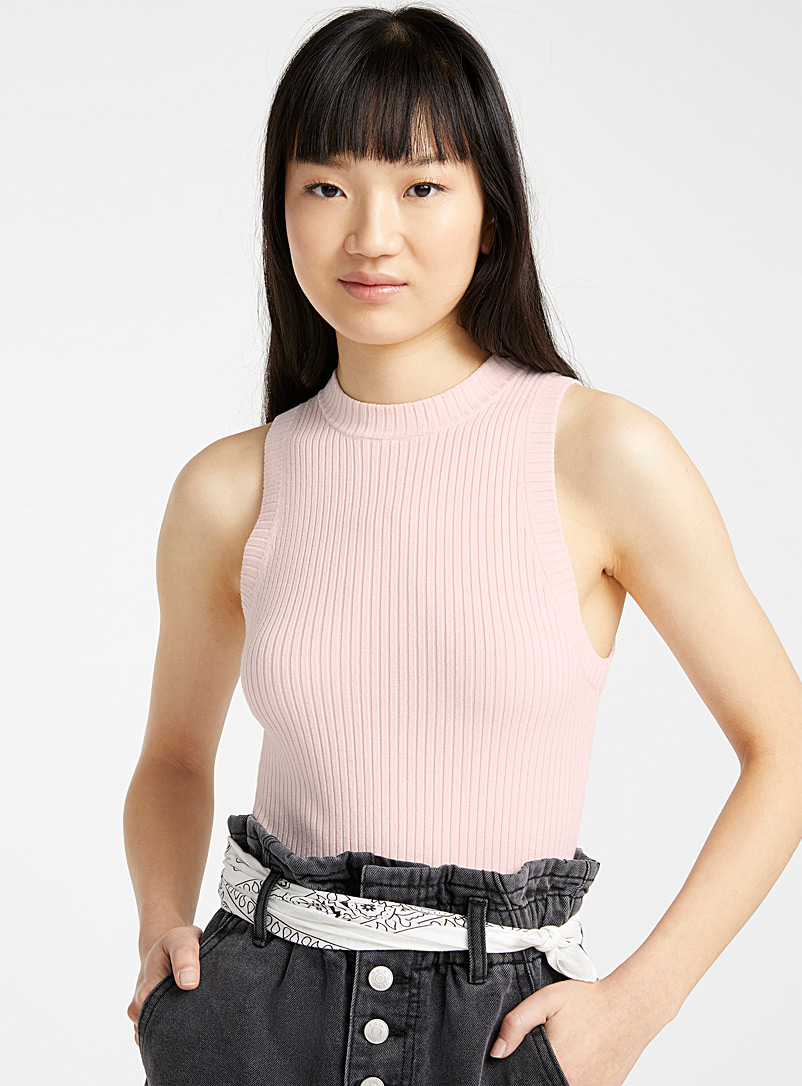 Twik Light pink  Fitted ribbed cami for women