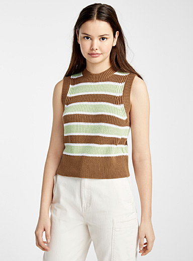 Cropped ribbed knit cami