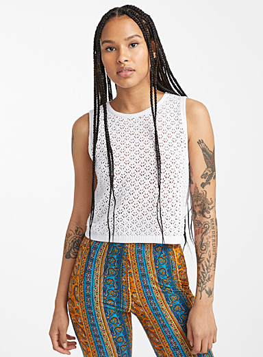 Cropped openwork knit cami