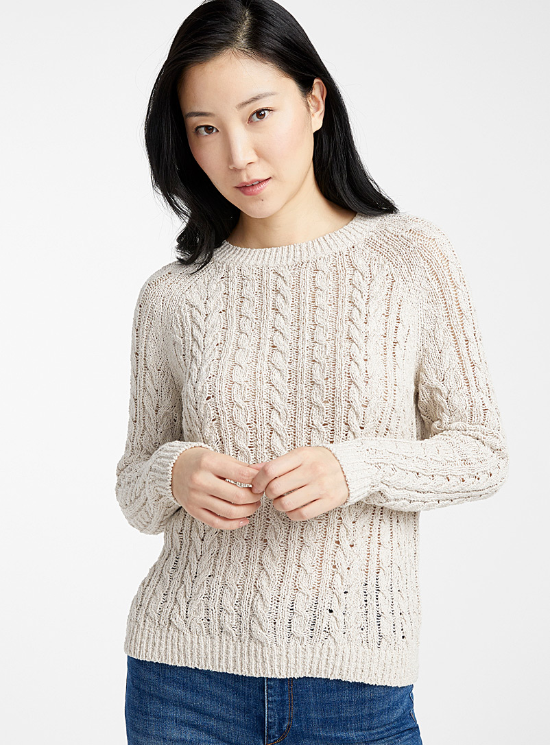 Contemporaine Sand Twisted raw knit sweater for women