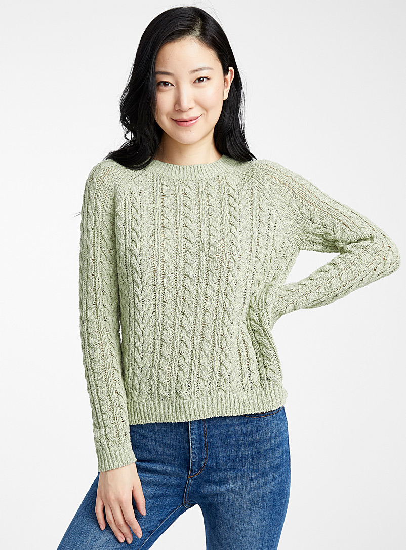 Contemporaine Mossy Green Twisted raw knit sweater for women