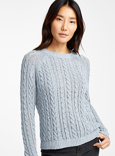 Twisted raw knit sweater