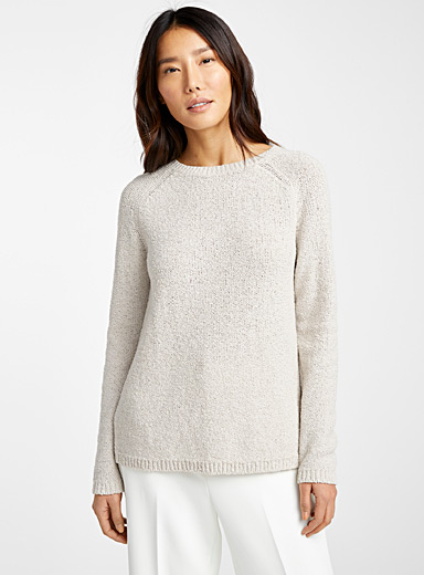 Le pull col rond maille brute