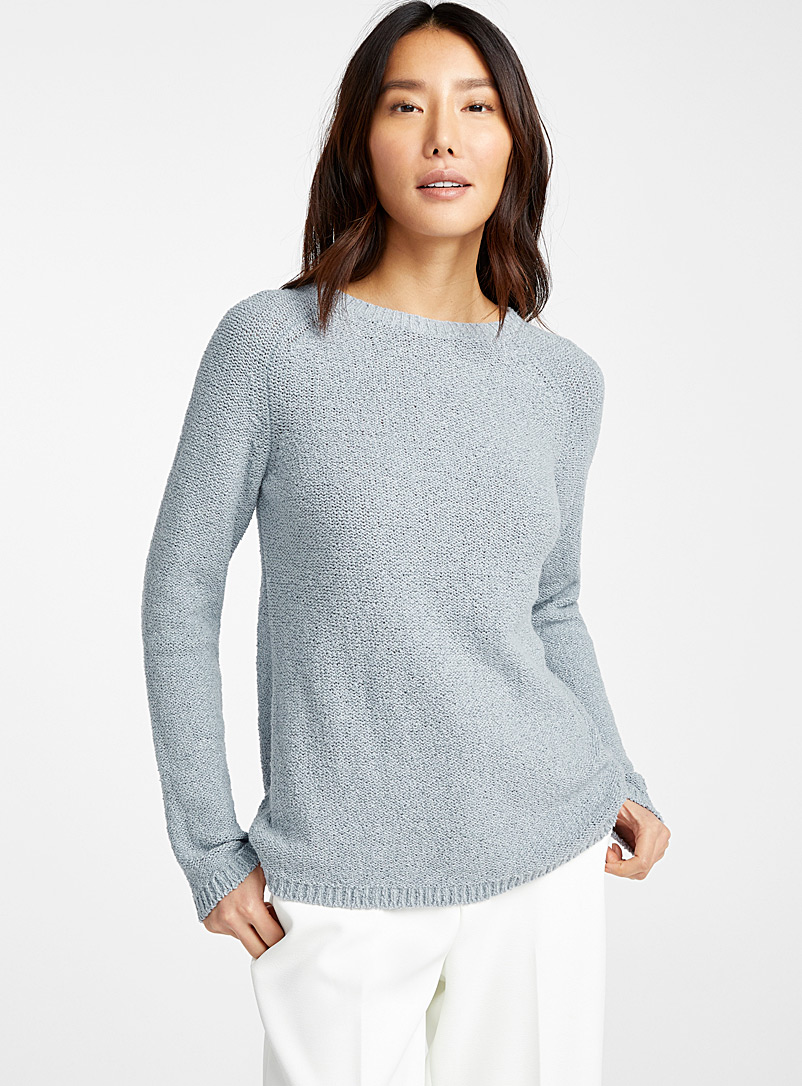 Contemporaine Baby Blue Raw knit crew-neck sweater for women