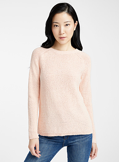 Raw knit crew-neck sweater
