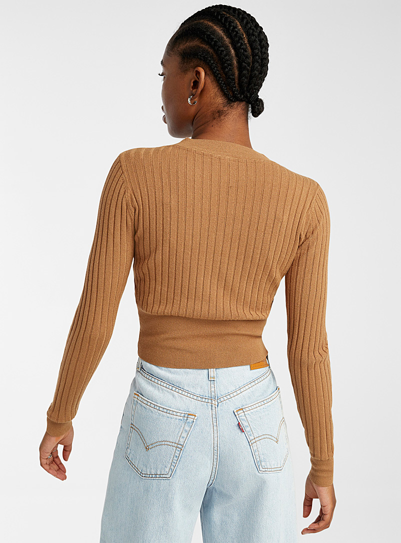 Twik Fawn Wide-ribbed cropped sweater for women