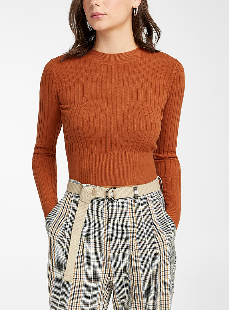 Twik Pink Wide-ribbed cropped sweater for women