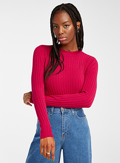 Wide rib cropped sweater
