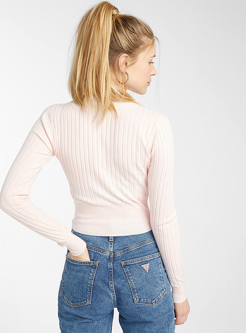 Twik White Wide-ribbed cropped sweater for women