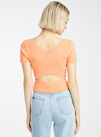 Crossed back cropped V-neck sweater