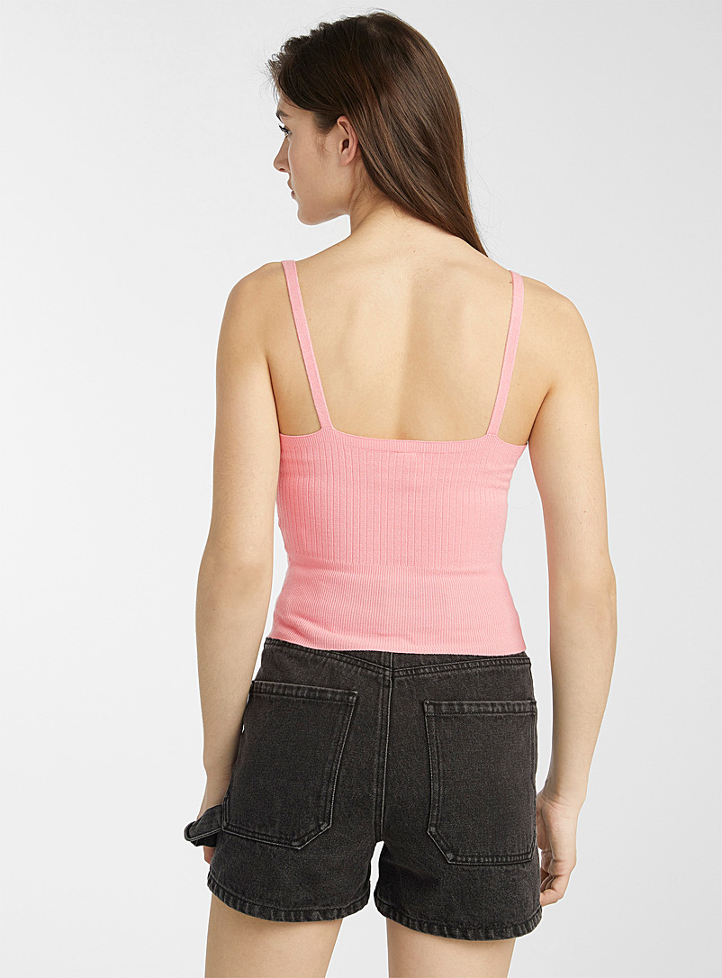 Twik Light Brown Cropped V-neck ribbed cami for women