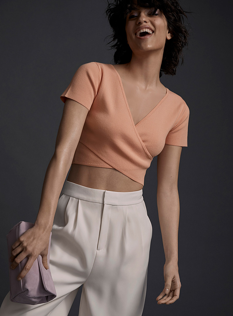 Icône Peach Thin-ribbed crossover sweater for women