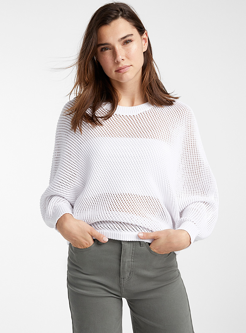 Twik White Eco-friendly mesh batwing sweater for women