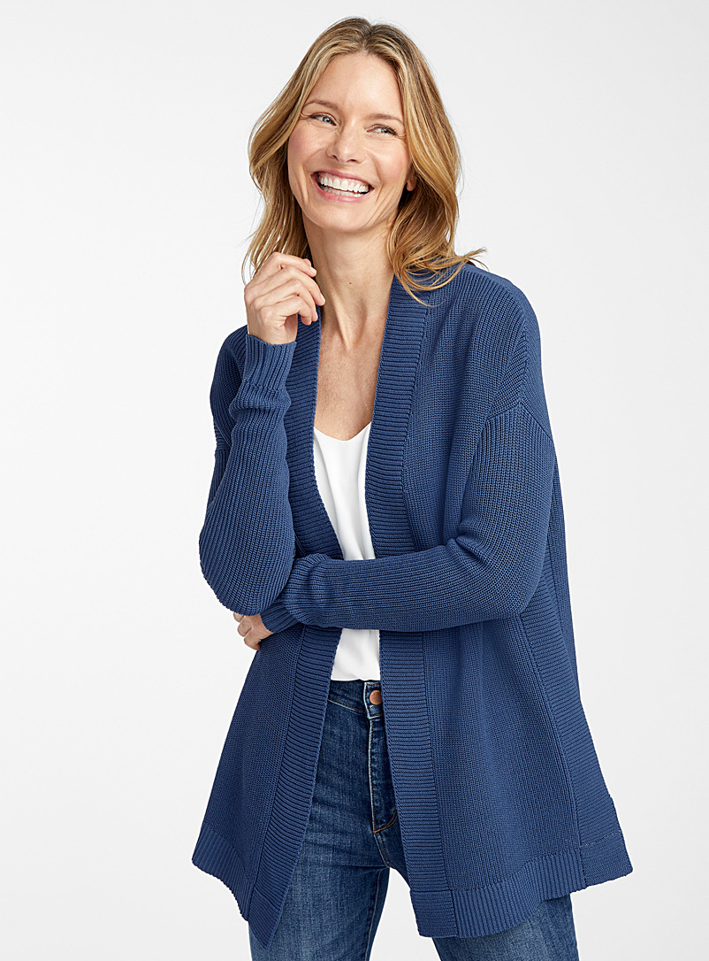 Contemporaine Dark Blue Open shaker rib cardigan for women
