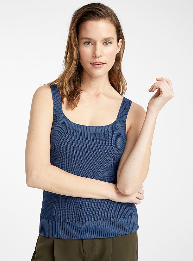 Contemporaine Dark Blue Square-neck ribbed cami for women