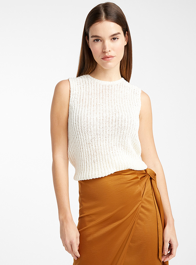 Icône Cream Beige Textured braided tank for women