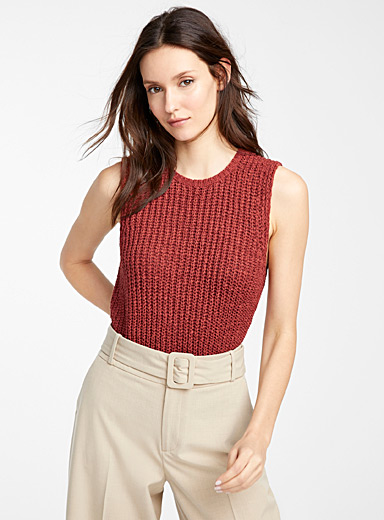 Icône Copper Textured braided tank for women