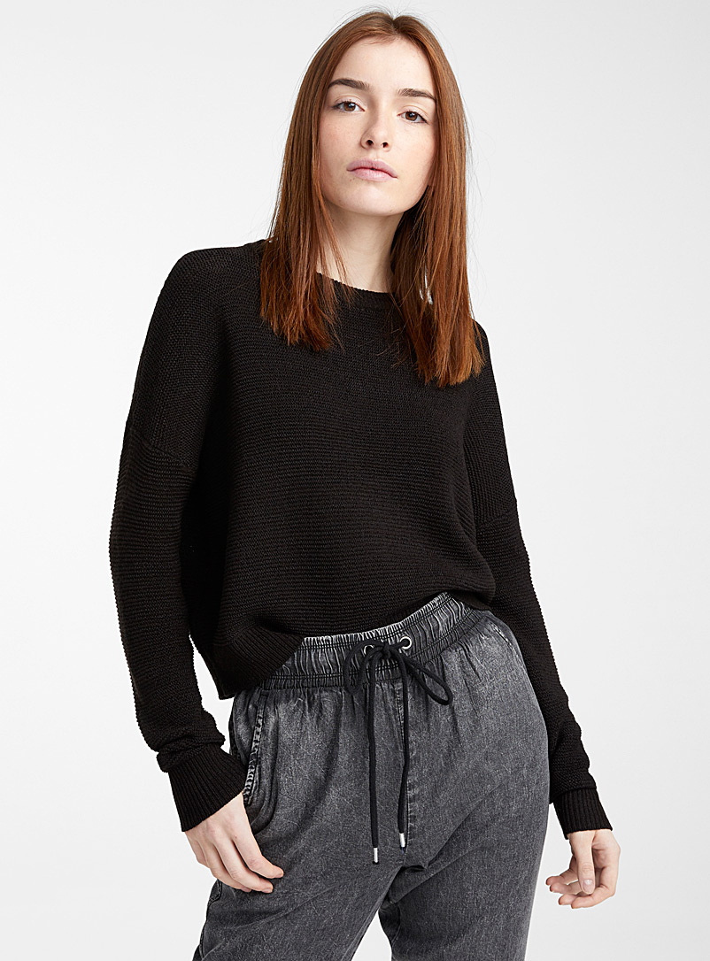 Twik Black Ribbon knit cropped sweater for women