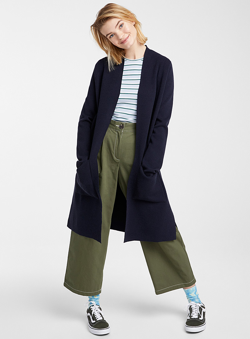 Long patch-pocket cozy cardigan