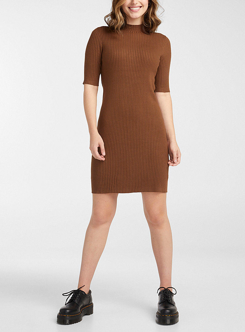 Twik Fawn Finely ribbed mock-neck dress for women