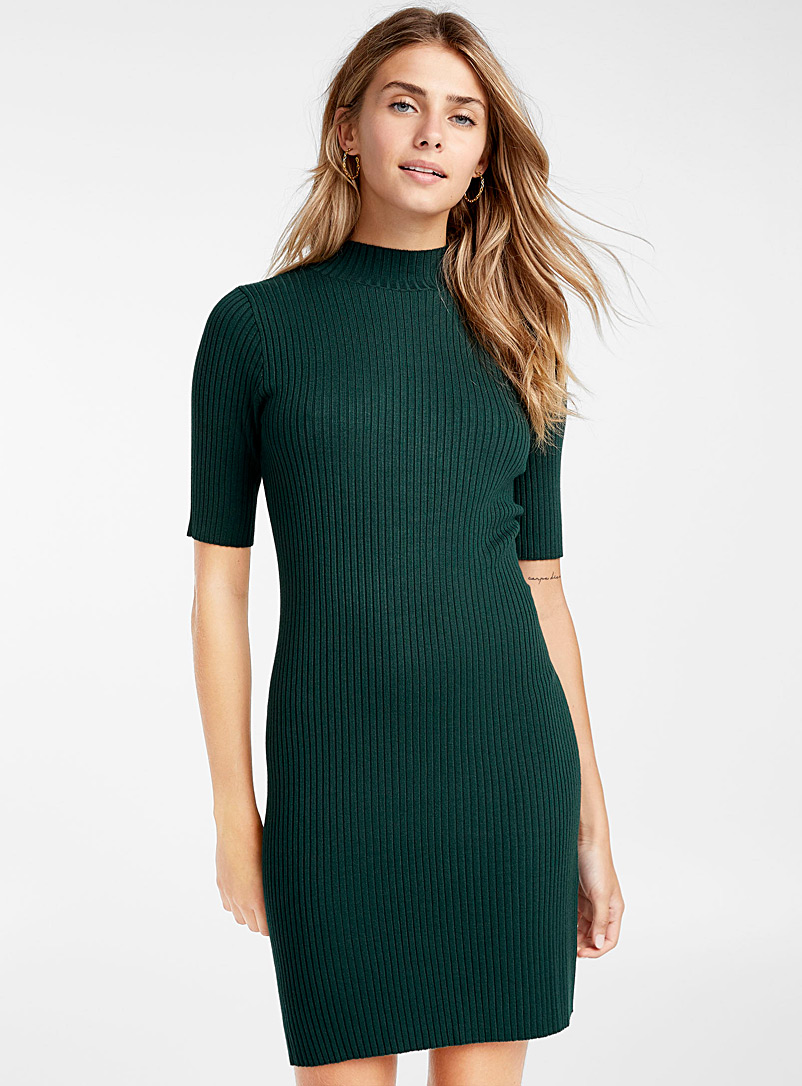 Finely ribbed mock-neck dress