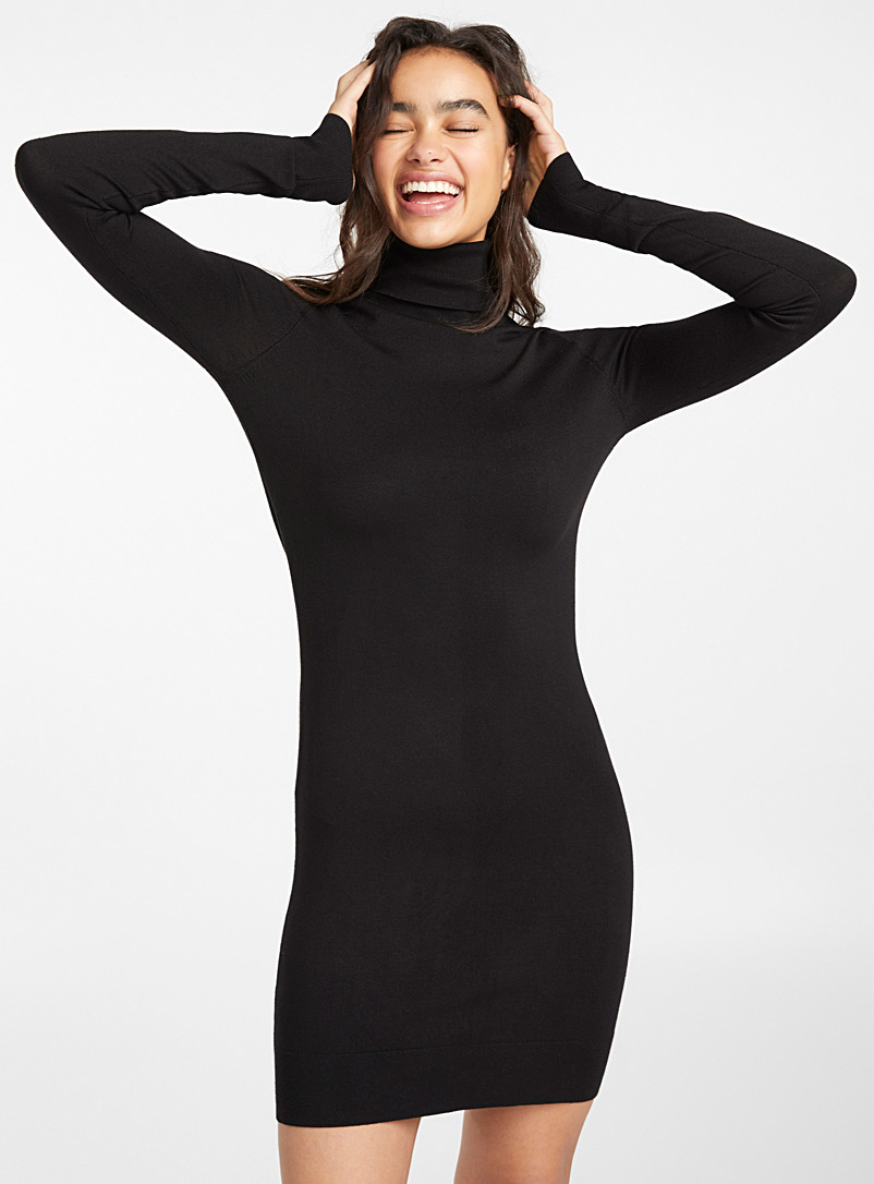Twik Black Basic fitted turtleneck dress for women
