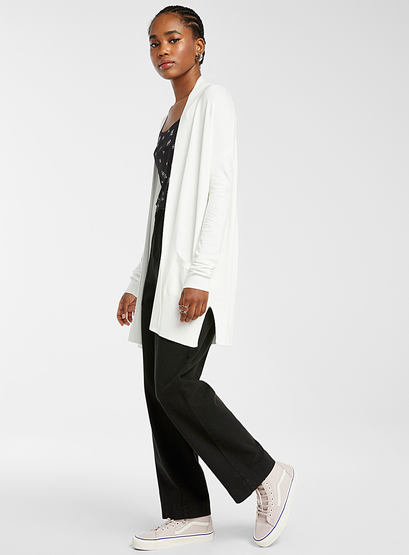 Twik Ivory White Viscose-accent open cardigan for women