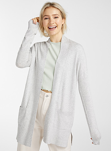 Twik Light Grey Viscose-accent open cardigan for women