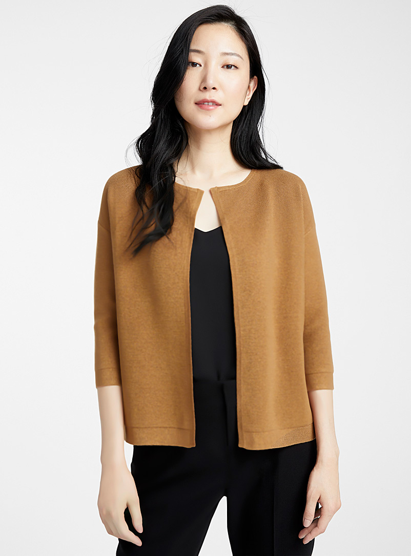 Contemporaine Light Brown Ottoman knit open cardigan for women