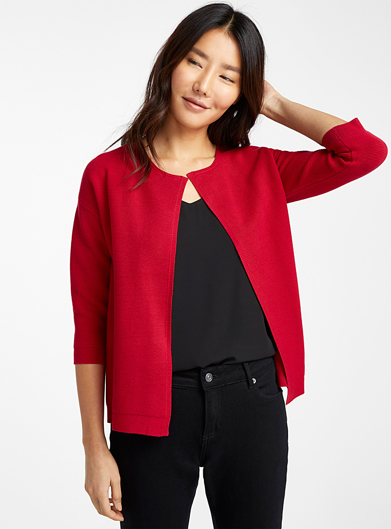 Ottoman knit open cardigan - Cardigans - Ruby Red