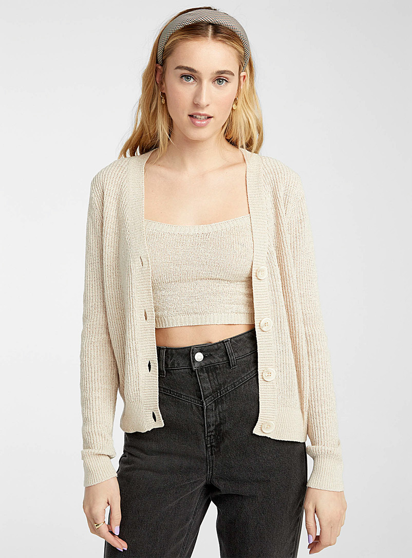 Twik Cream Beige Ribbon-knit cropped cardigan for women