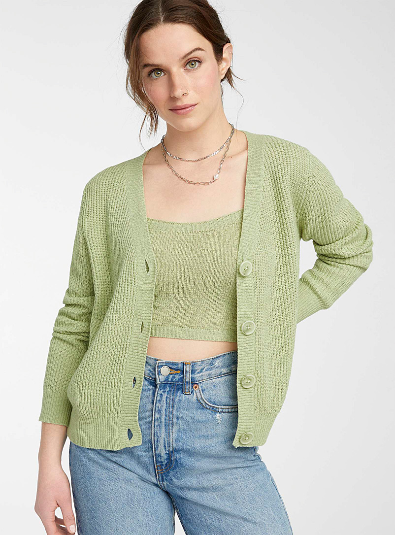 Twik Lime Green Ribbon-knit cropped cardigan for women