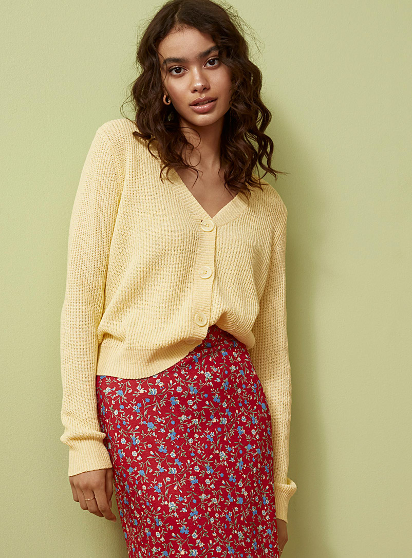 Twik Light Yellow Ribbon-knit cropped cardigan for women