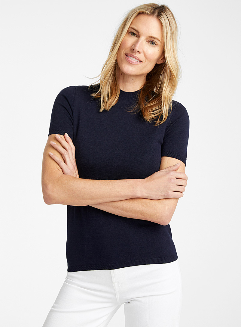 Contemporaine Marine Blue Fine knit mock-neck sweater for women