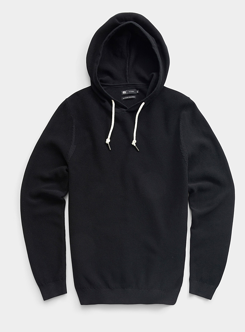 Le 31 Black Hooded piqué sweater for men