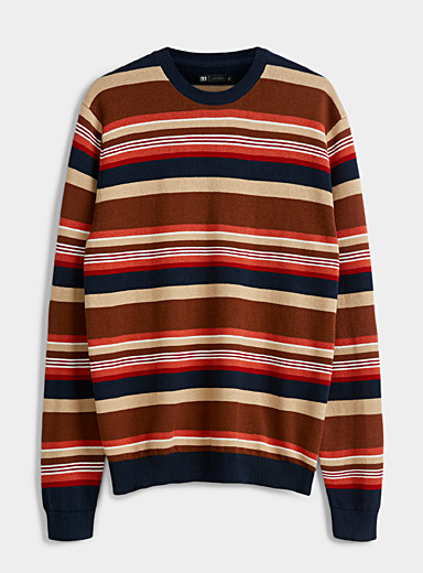 Le 31 Patterned Brown Graphic combination sweater for men