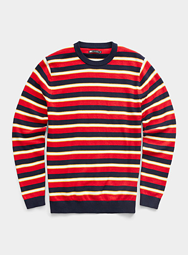 Le 31 Patterned Red Graphic stripe sweater for men
