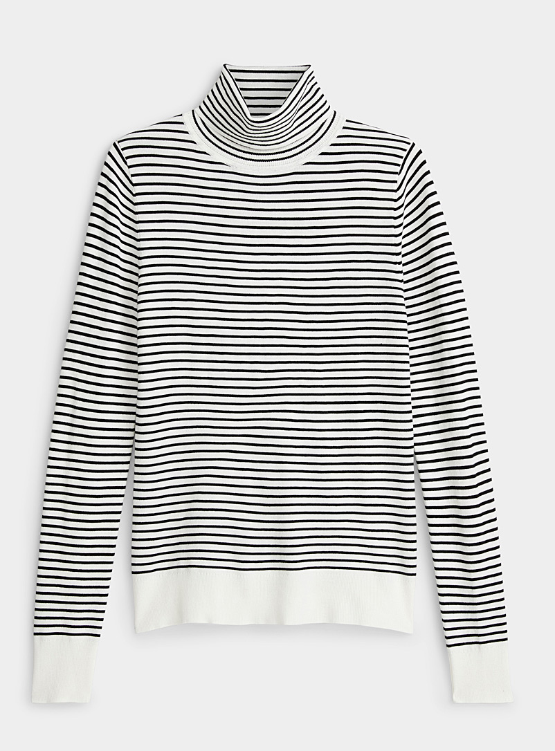 Twik Ivory White Thin stripe turtleneck for women