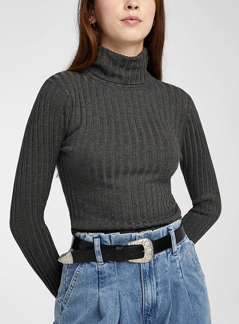 Twik Oxford Wide-ribbed turtleneck for women