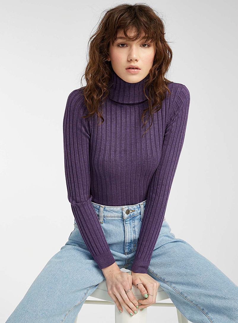 Twik Dusky Pink Wide-ribbed fitted turtleneck for women